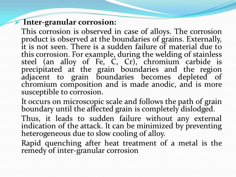 Inter-granular corrosion: