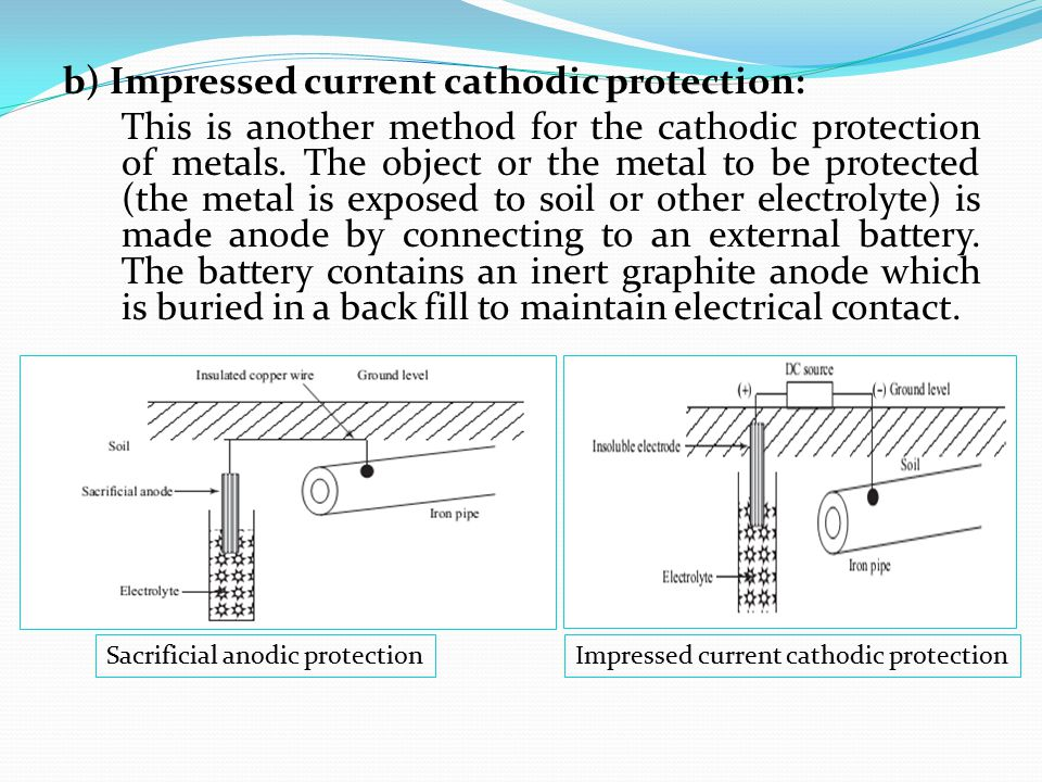 b) Impressed current cathodic protection: