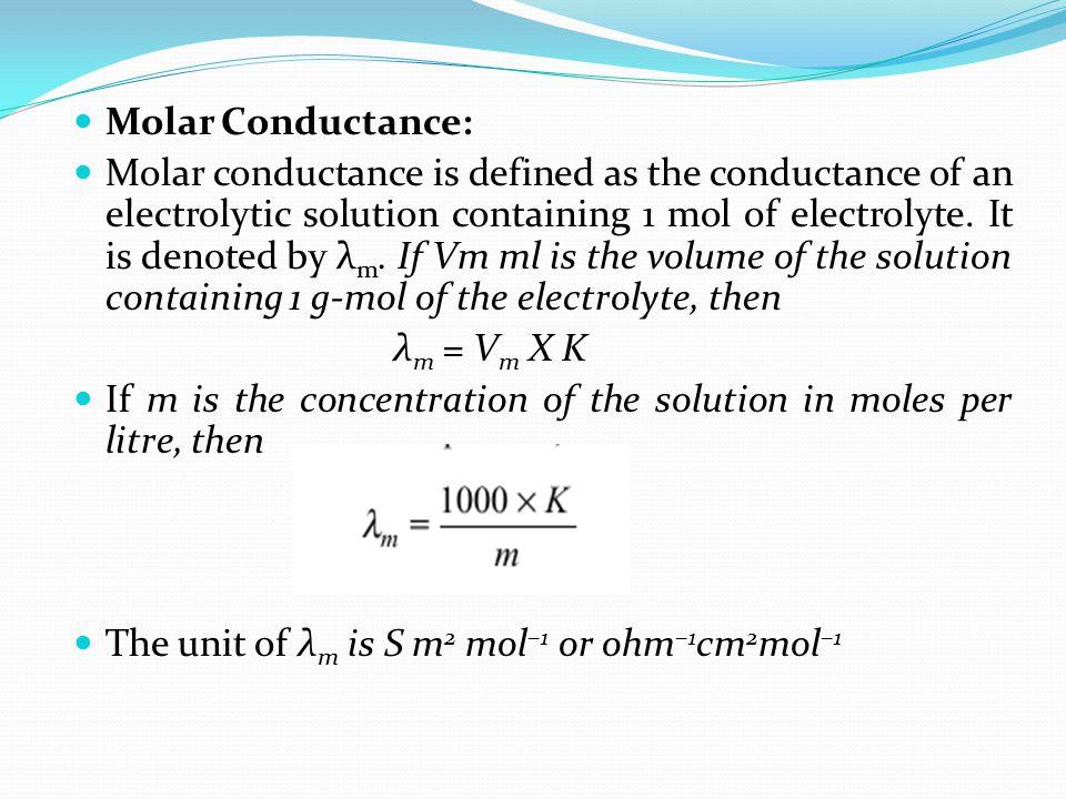 Molar Conductance: