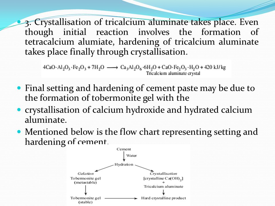 3. Crystallisation of tricalcium aluminate takes place