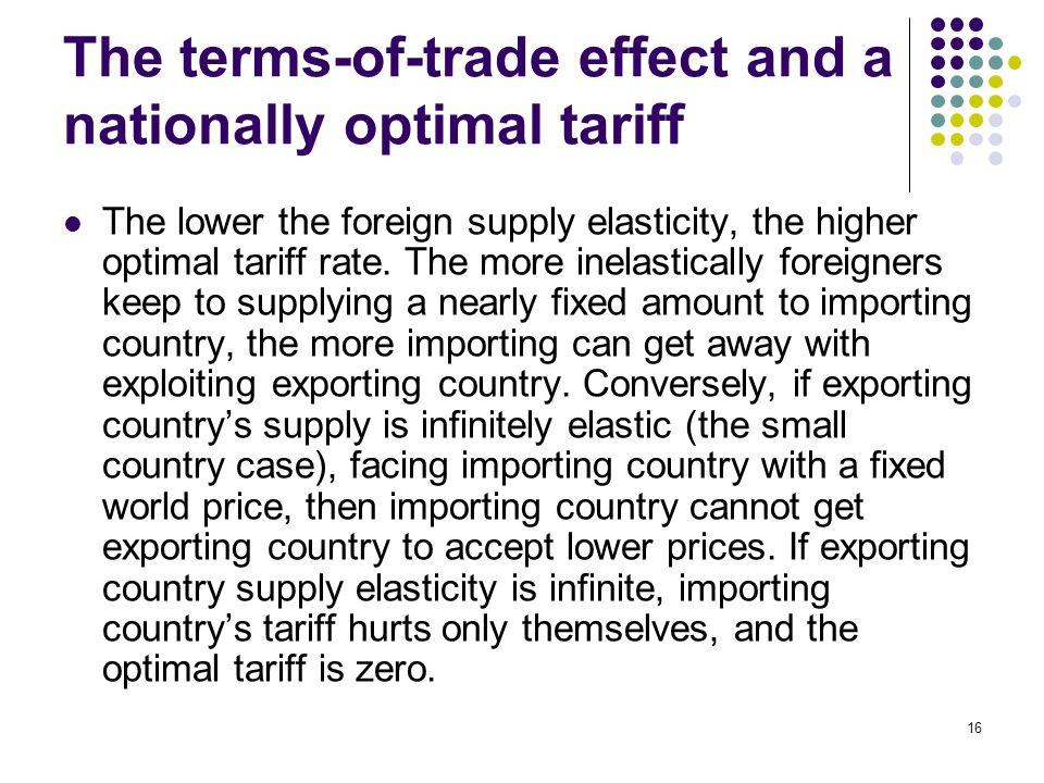 The terms-of-trade effect and a nationally optimal tariff