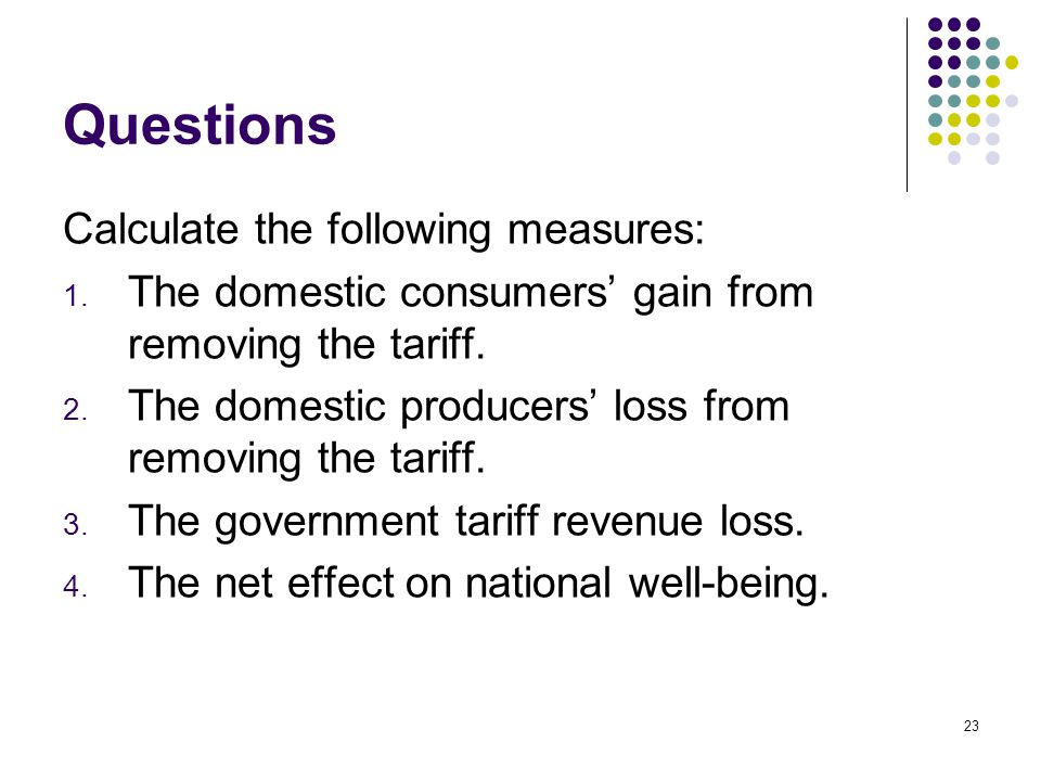 Questions Calculate the following measures: