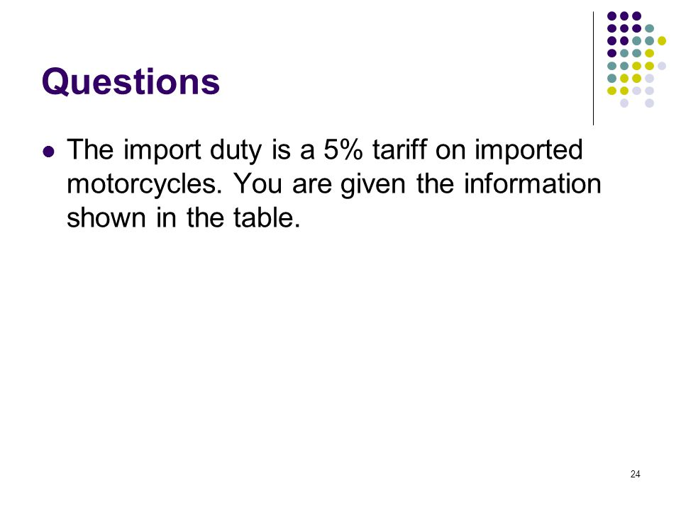 Questions The import duty is a 5% tariff on imported motorcycles.