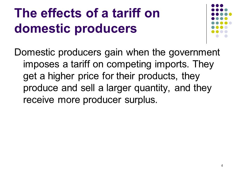 The effects of a tariff on domestic producers