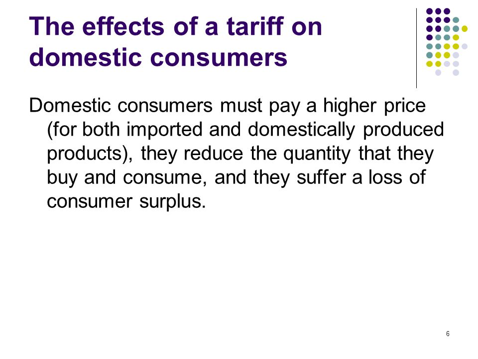The effects of a tariff on domestic consumers