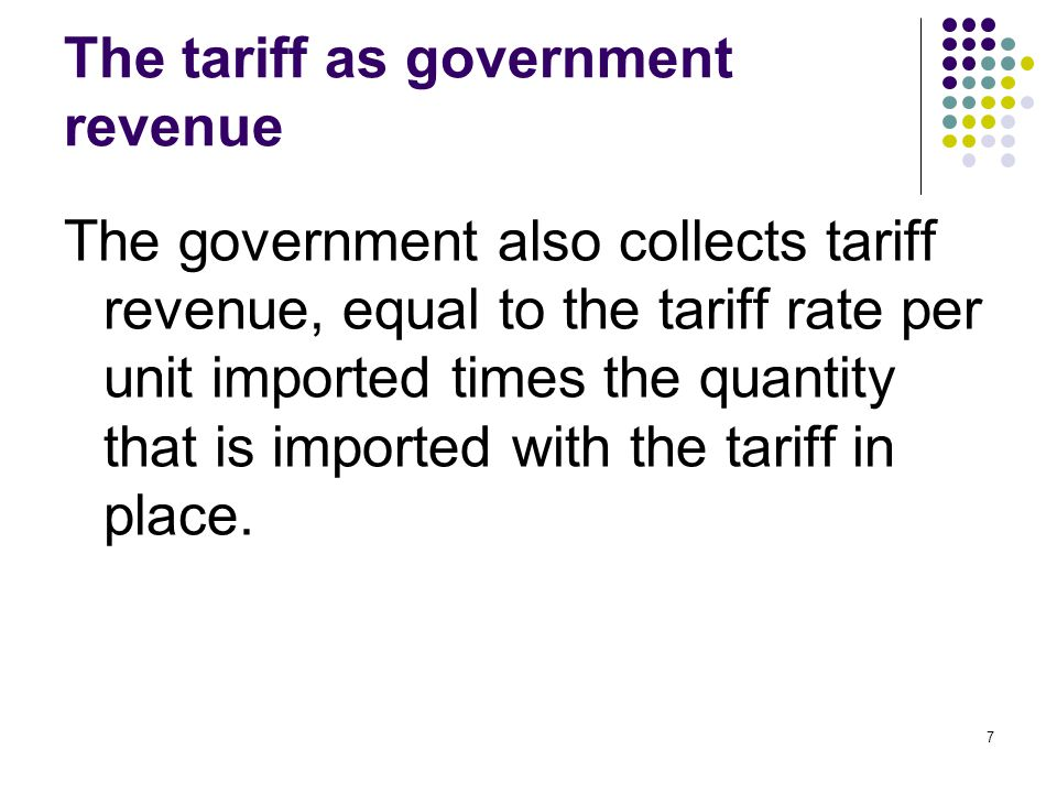 The tariff as government revenue