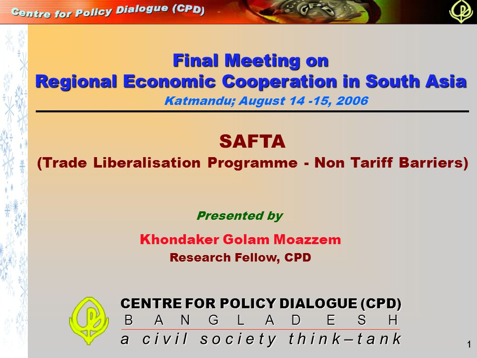 (Trade Liberalisation Programme - Non Tariff Barriers)
