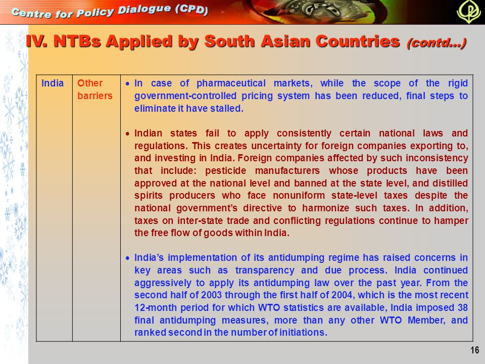 IV. NTBs Applied by South Asian Countries (contd…)