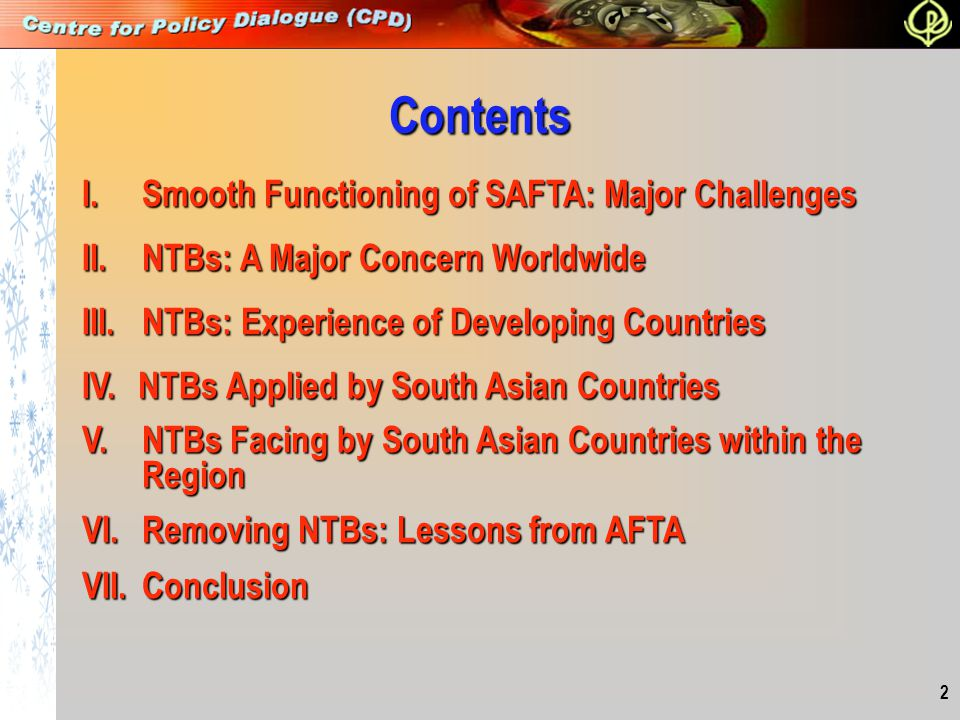 Contents I. Smooth Functioning of SAFTA: Major Challenges