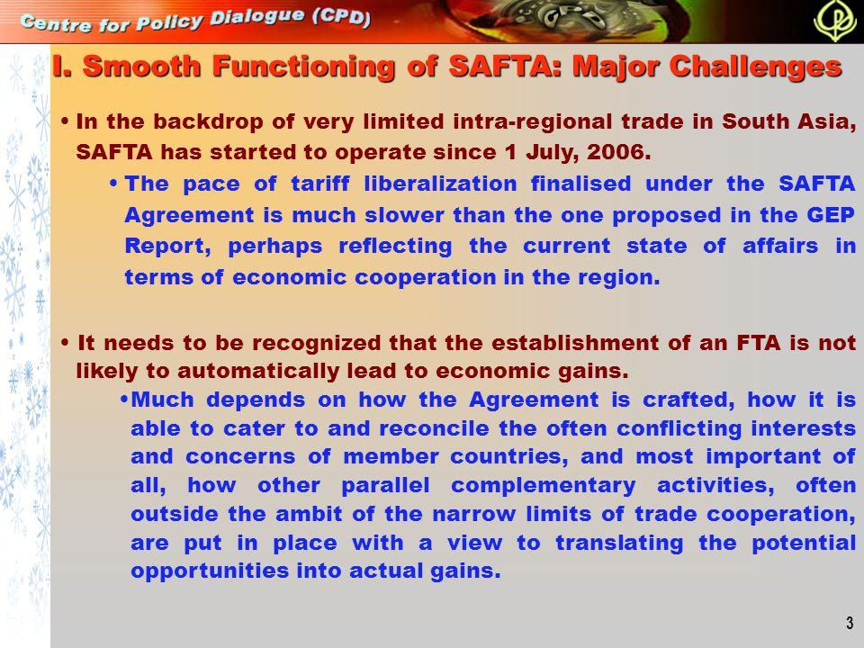 I. Smooth Functioning of SAFTA: Major Challenges
