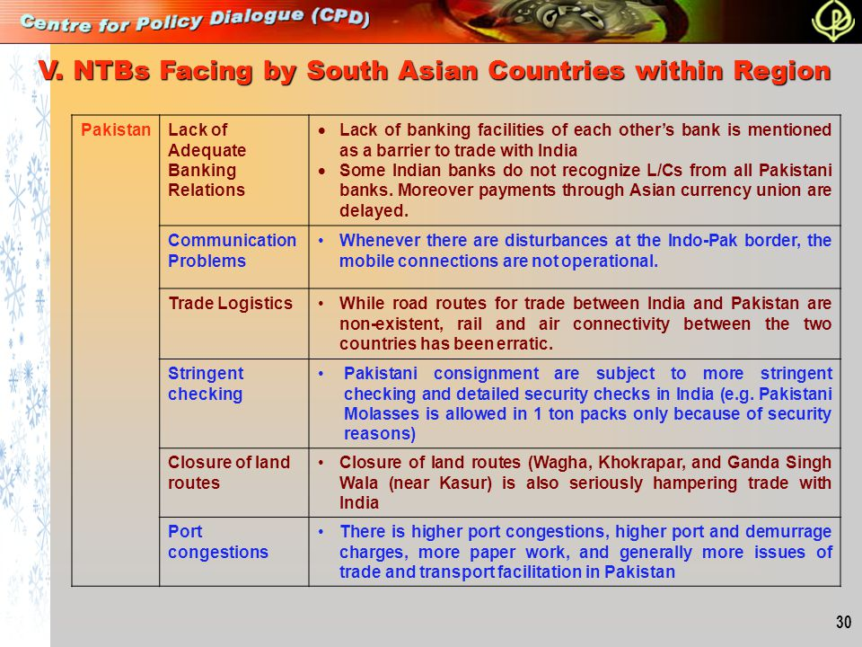 V. NTBs Facing by South Asian Countries within Region