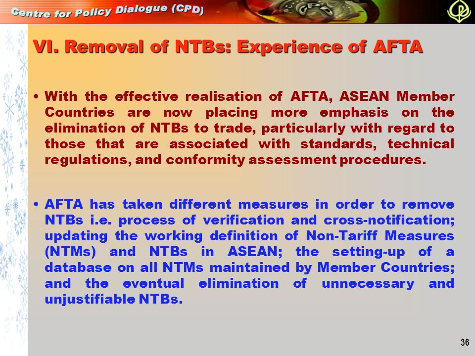 VI. Removal of NTBs: Experience of AFTA