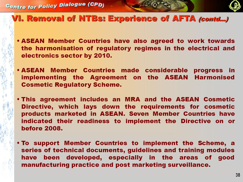 VI. Removal of NTBs: Experience of AFTA (contd…)