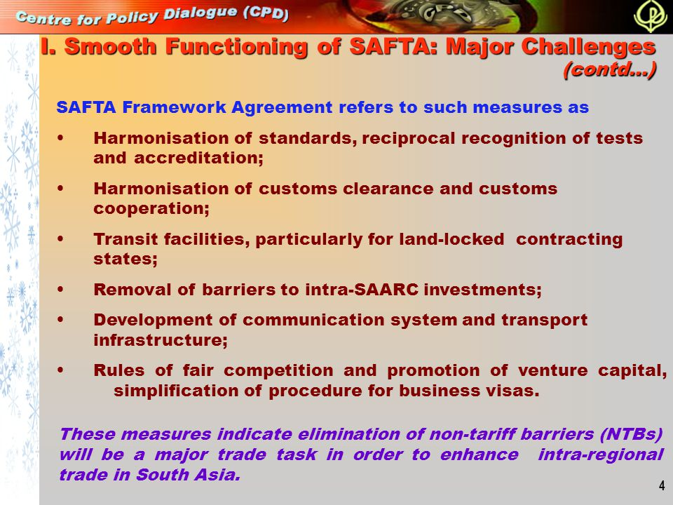 I. Smooth Functioning of SAFTA: Major Challenges (contd…)