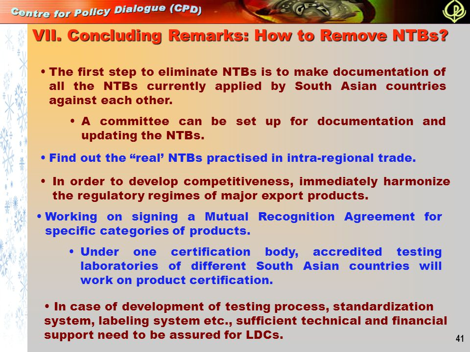 VII. Concluding Remarks: How to Remove NTBs