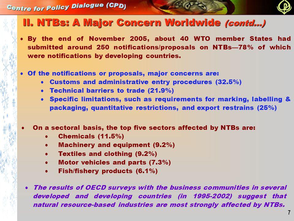 II. NTBs: A Major Concern Worldwide (contd…)