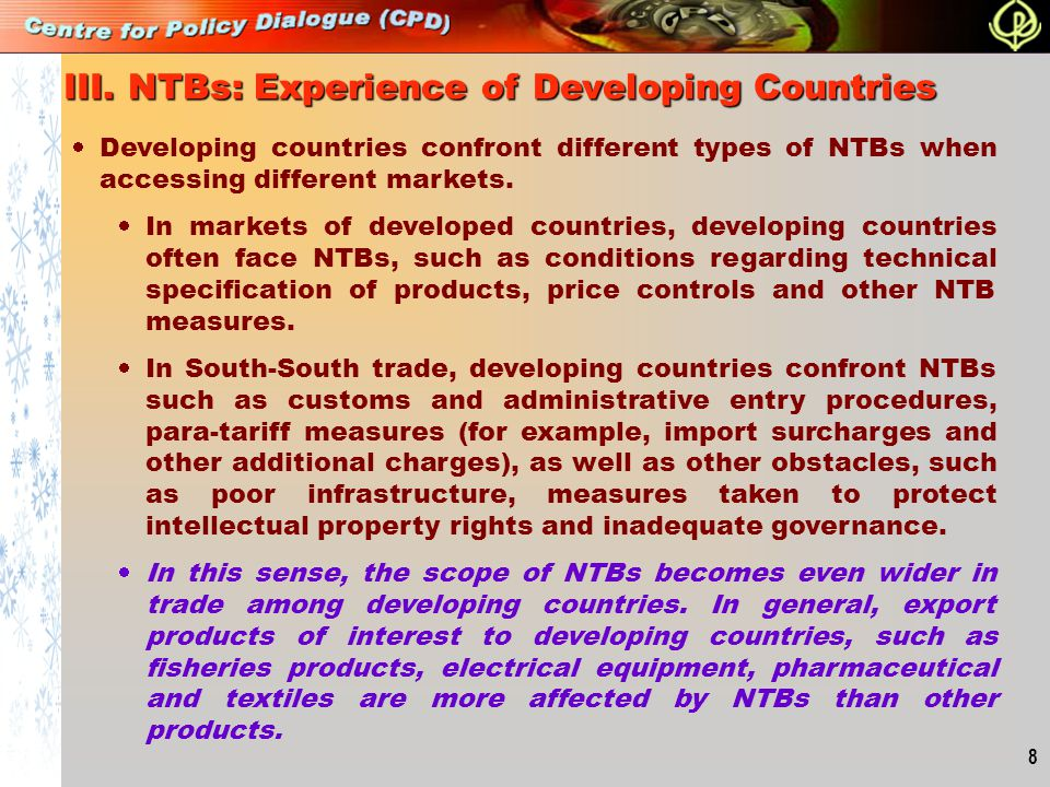 III. NTBs: Experience of Developing Countries
