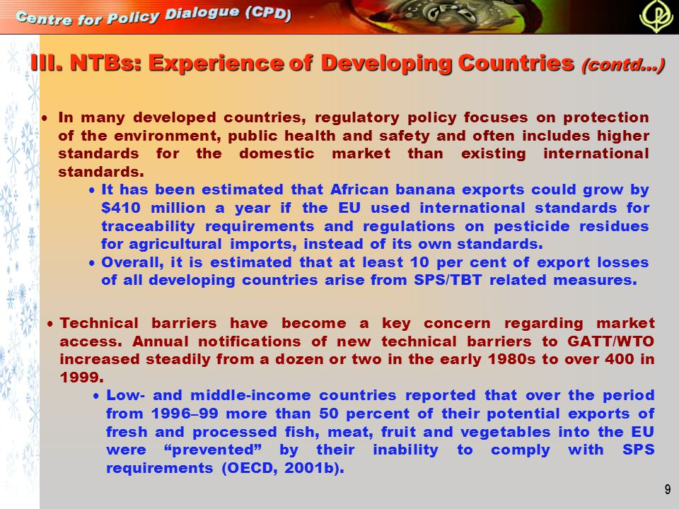 III. NTBs: Experience of Developing Countries (contd…)
