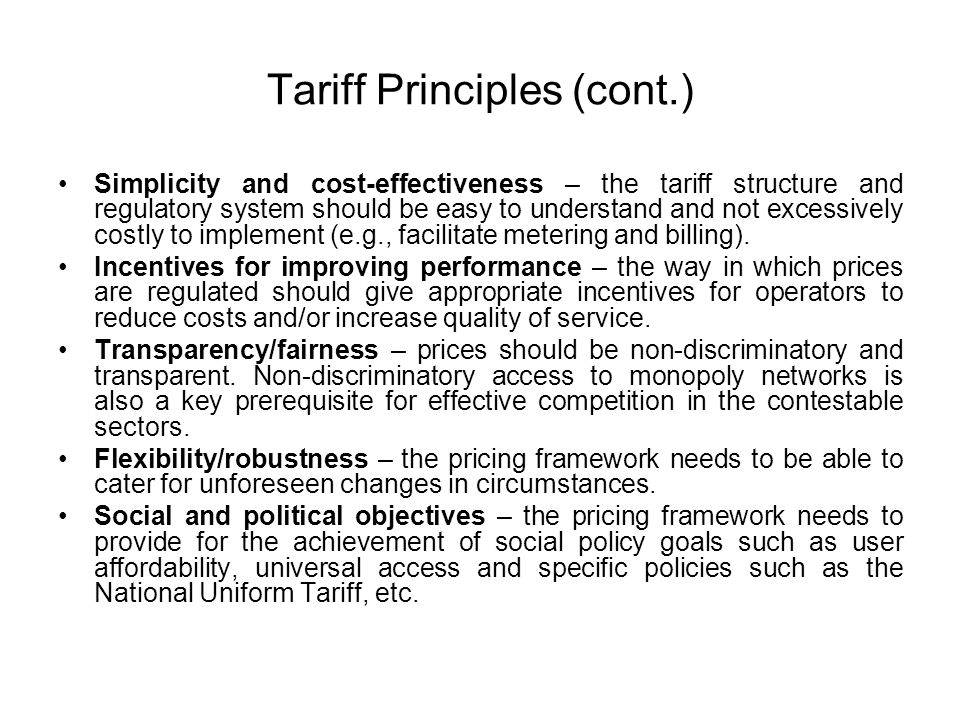 Tariff Principles (cont.)