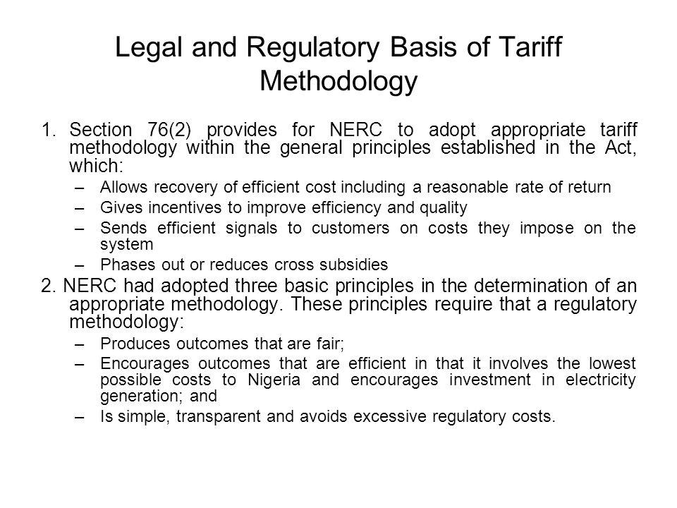 Legal and Regulatory Basis of Tariff Methodology