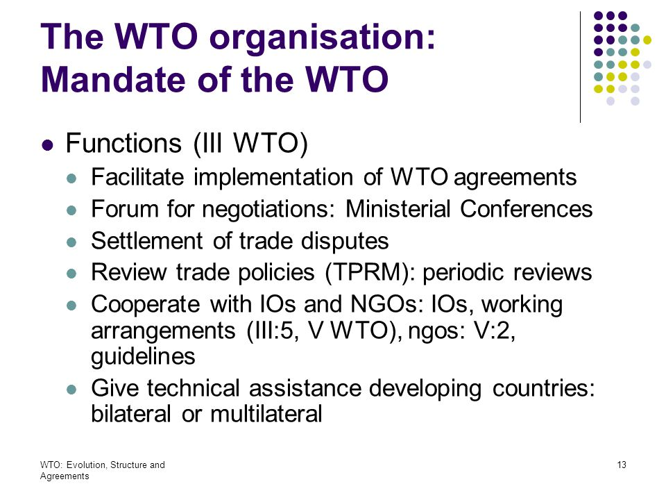 The WTO organisation: Mandate of the WTO