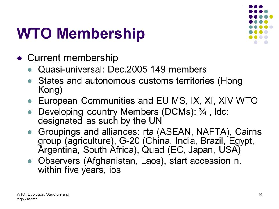 WTO Membership Current membership