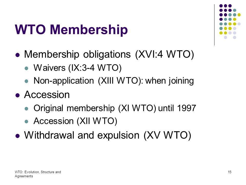 WTO Membership Membership obligations (XVI:4 WTO) Accession