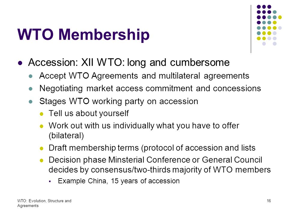 WTO Membership Accession: XII WTO: long and cumbersome