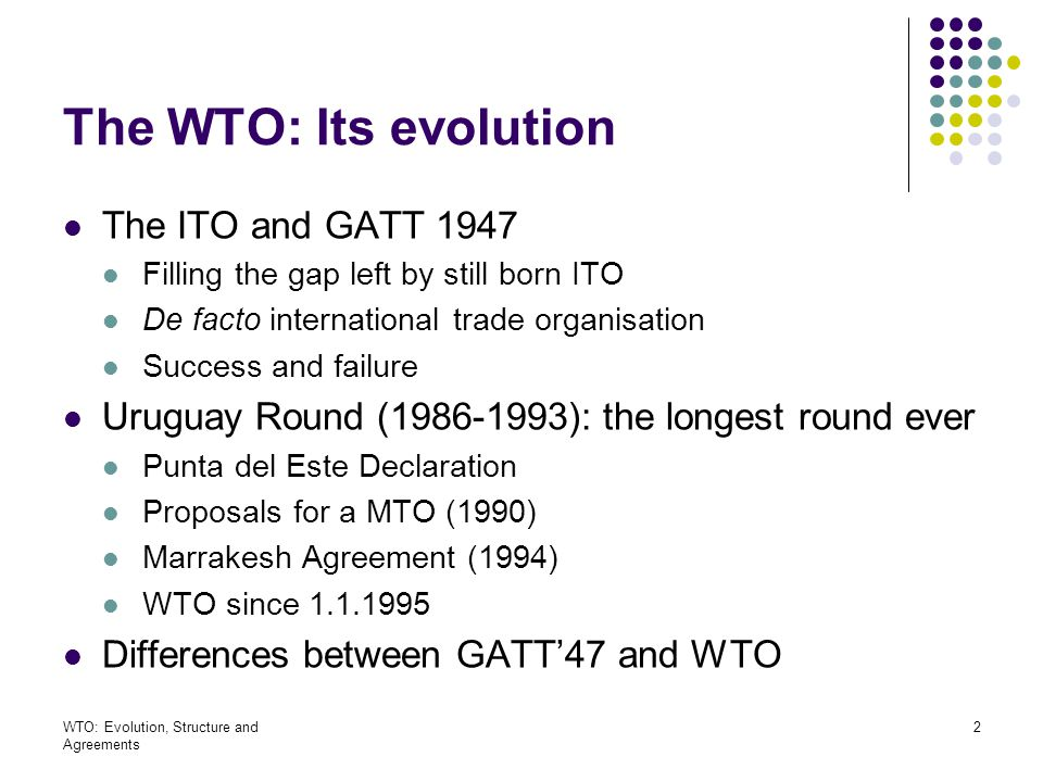 The WTO: Its evolution The ITO and GATT 1947