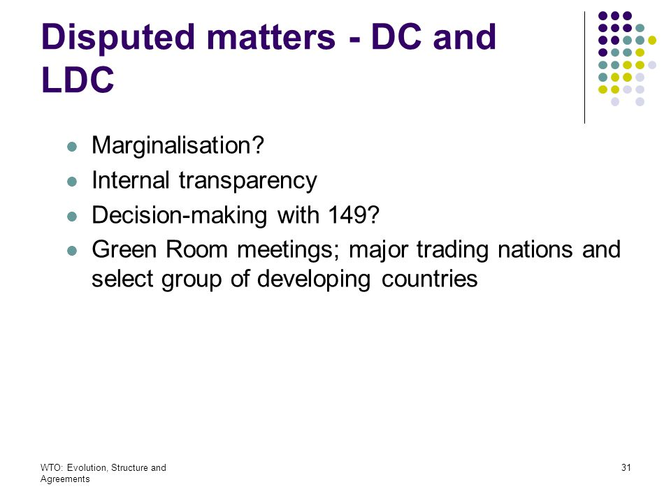 Disputed matters - DC and LDC