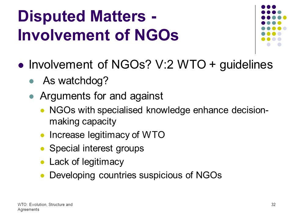 Disputed Matters - Involvement of NGOs