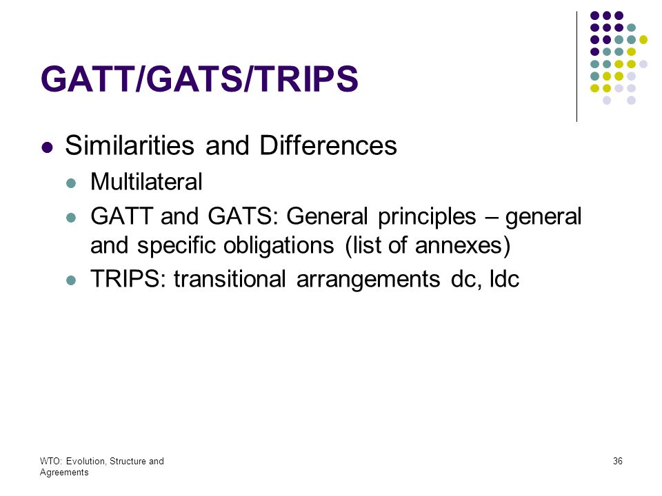 GATT/GATS/TRIPS Similarities and Differences Multilateral