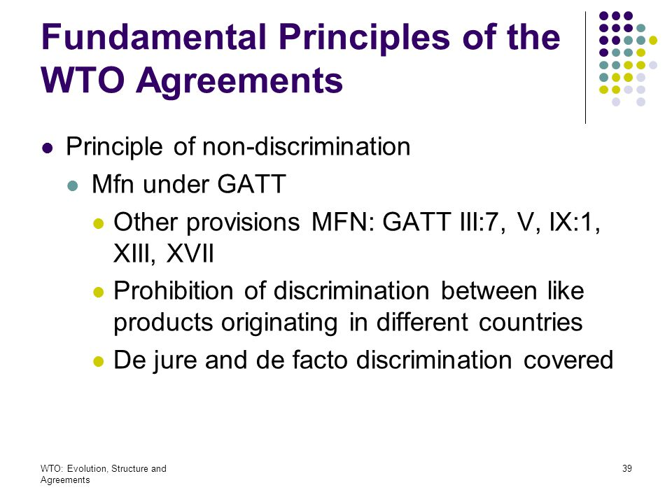 Fundamental Principles of the WTO Agreements