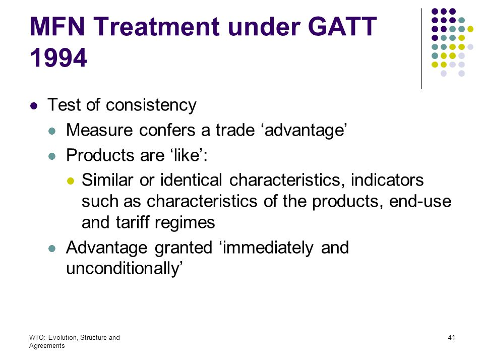 MFN Treatment under GATT 1994
