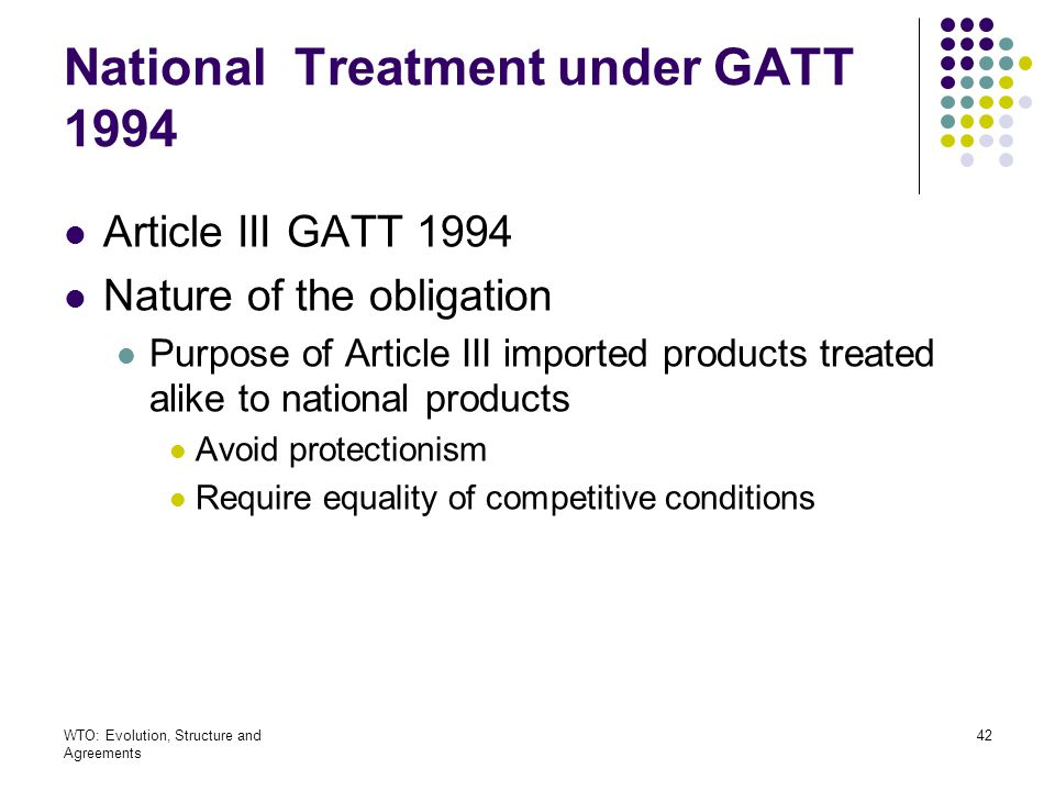 National Treatment under GATT 1994