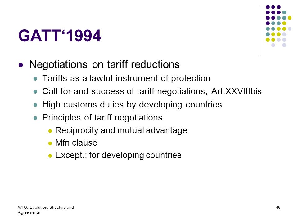 GATT'1994 Negotiations on tariff reductions