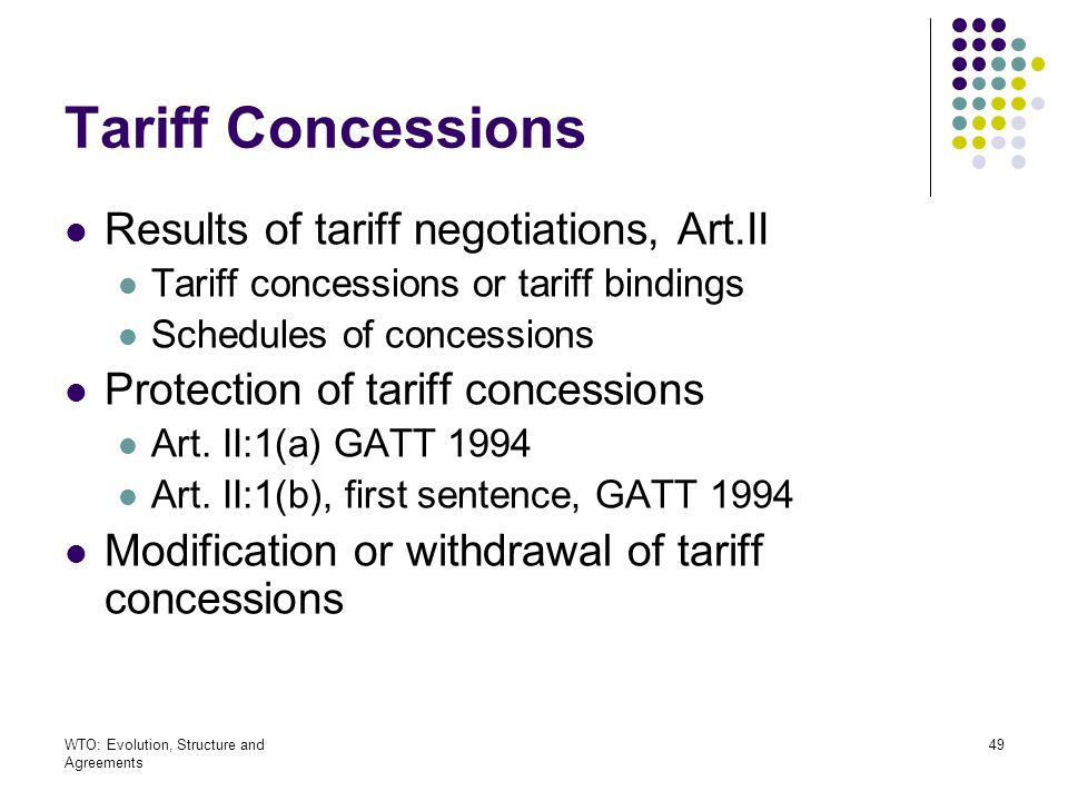 Tariff Concessions Results of tariff negotiations, Art.II