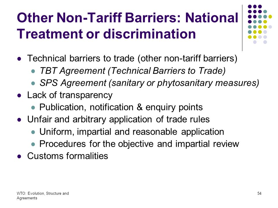 Other Non-Tariff Barriers: National Treatment or discrimination