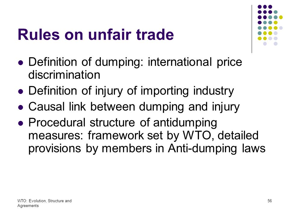 Rules on unfair trade Definition of dumping: international price discrimination. Definition of injury of importing industry.