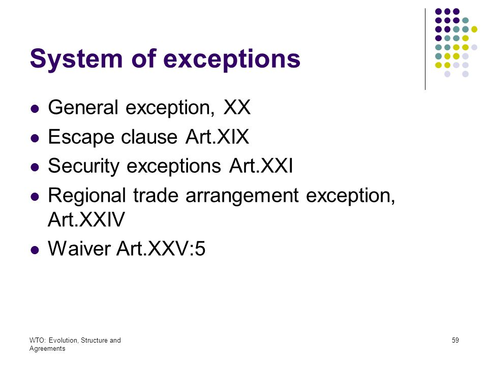 System of exceptions General exception, XX Escape clause Art.XIX