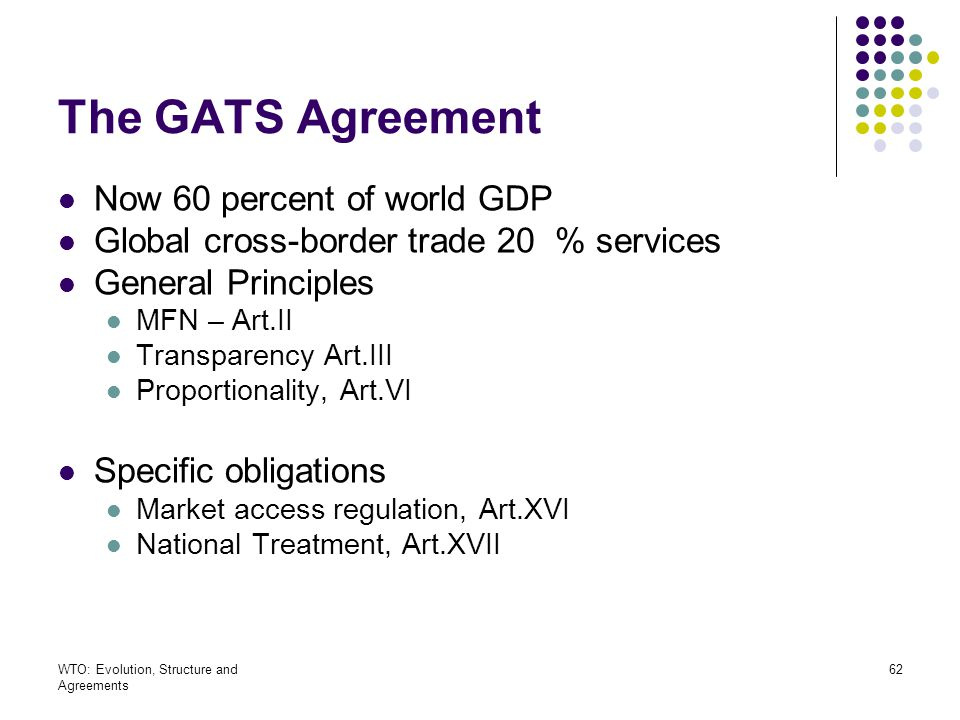 The GATS Agreement Now 60 percent of world GDP