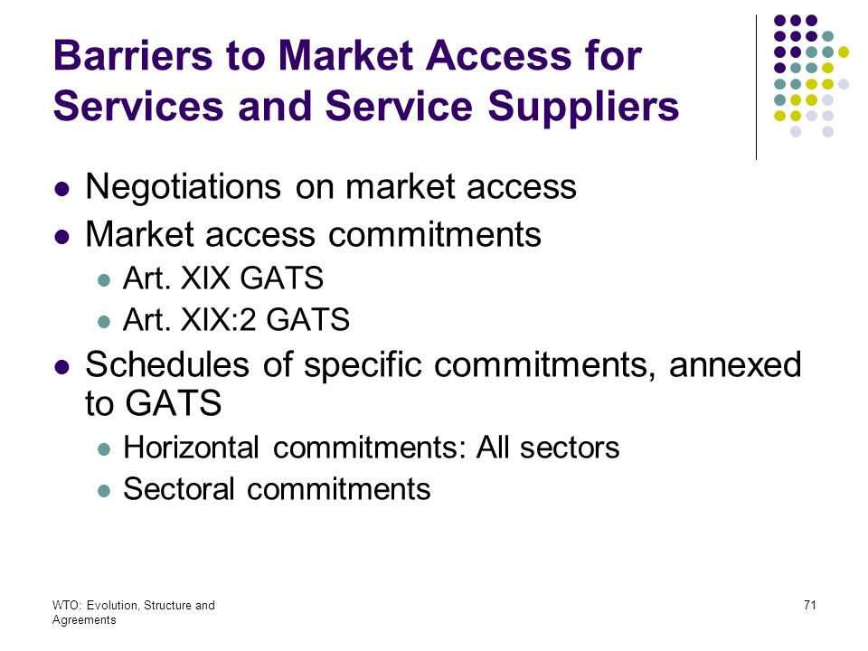 Barriers to Market Access for Services and Service Suppliers