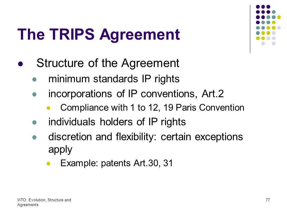 The TRIPS Agreement Structure of the Agreement