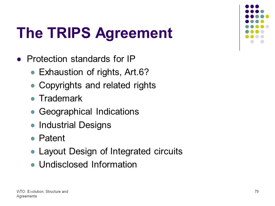 The TRIPS Agreement Protection standards for IP