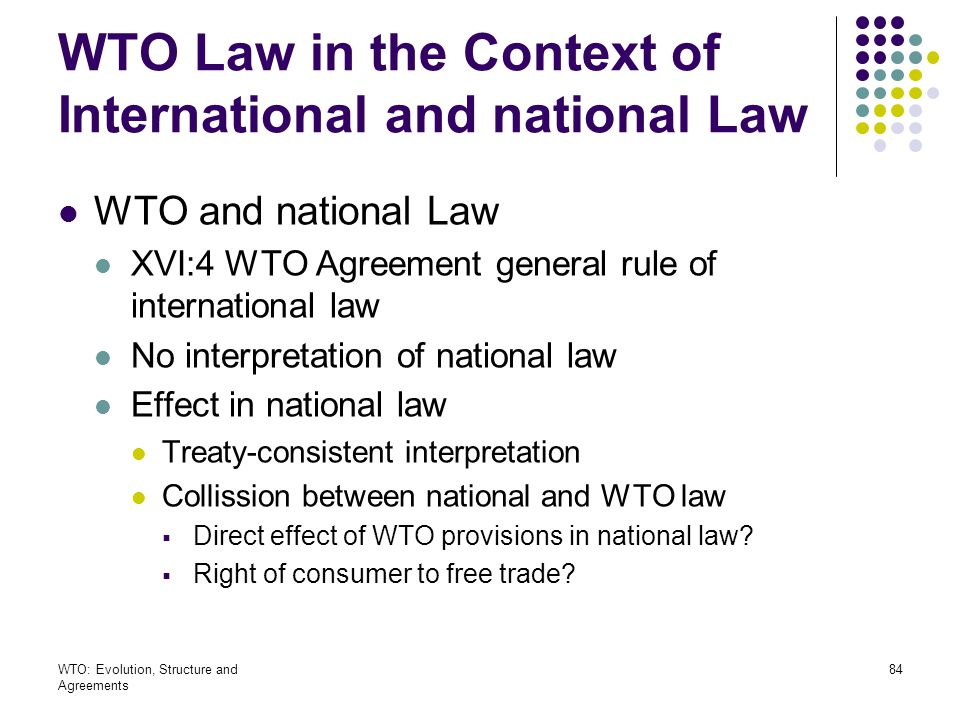 WTO Law in the Context of International and national Law