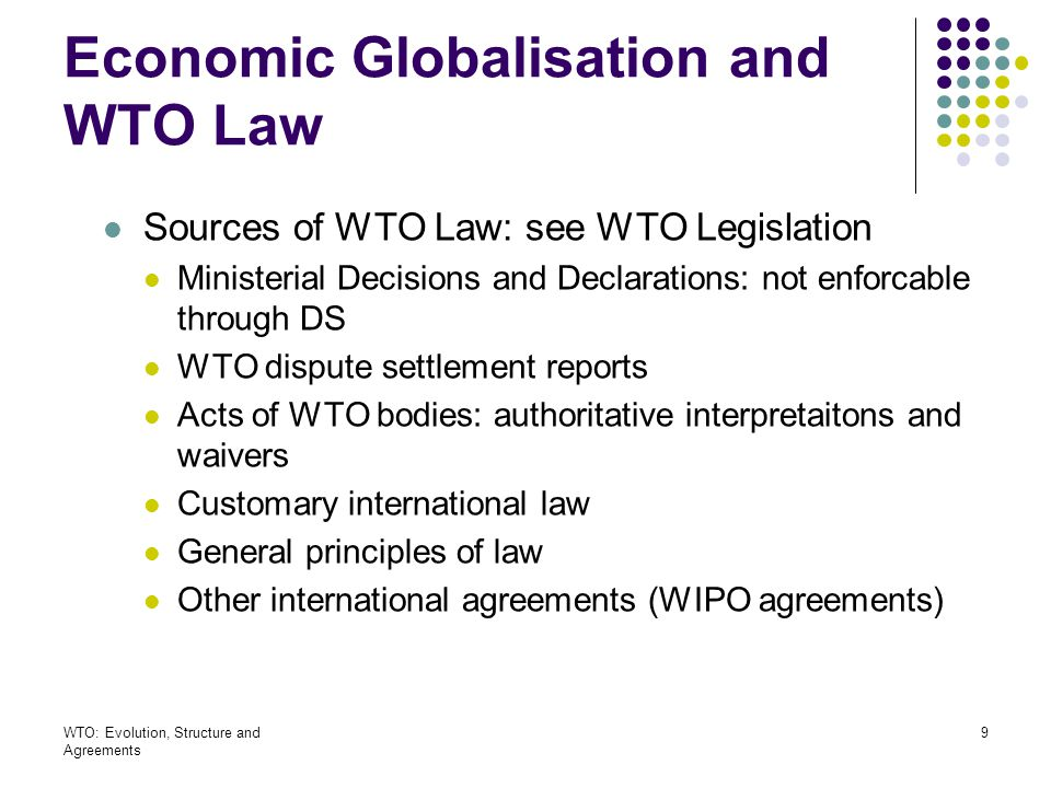 Economic Globalisation and WTO Law
