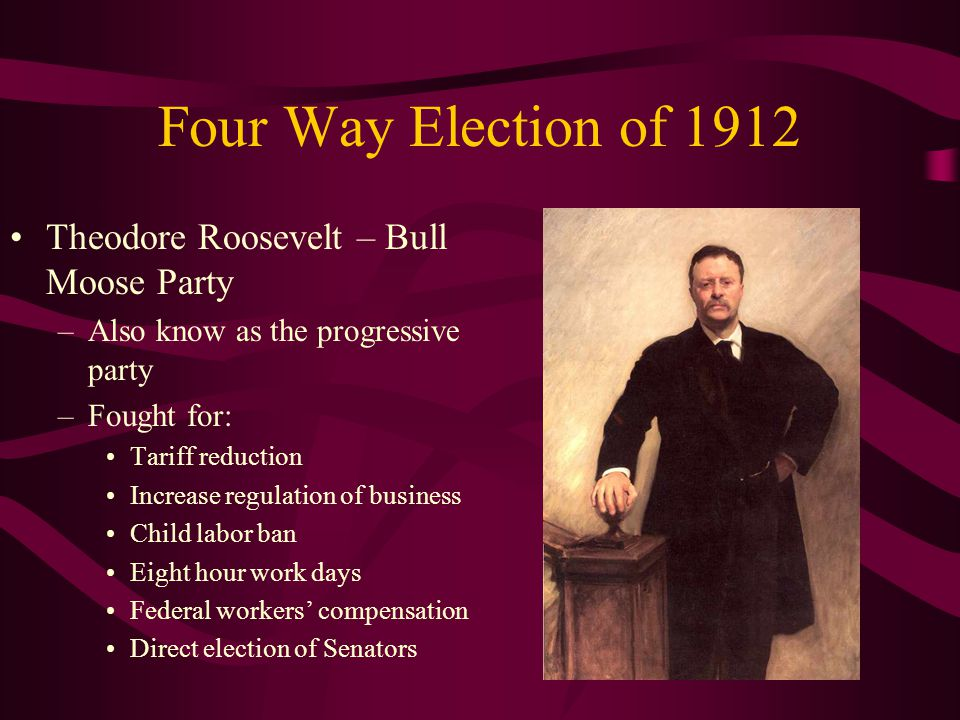 Four Way Election of 1912 Theodore Roosevelt – Bull Moose Party