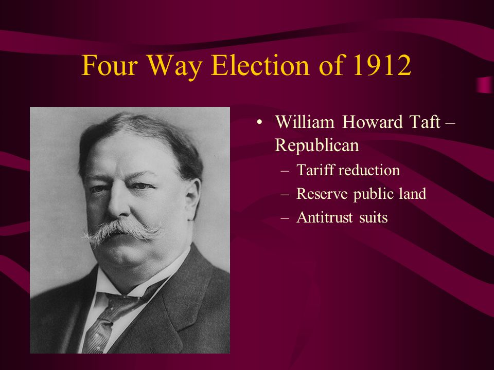 Four Way Election of 1912 William Howard Taft – Republican