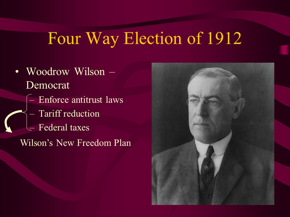 Four Way Election of 1912 Woodrow Wilson – Democrat