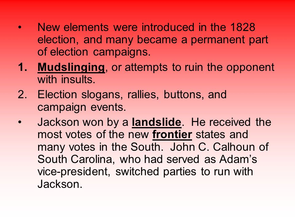 New elements were introduced in the 1828 election, and many became a permanent part of election campaigns.